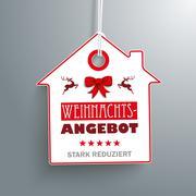 House Christmas Price Sticker - stock illustration