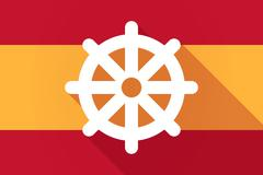 Spain  long shadow flag with a dharma chakra sign Piirros