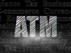 Money concept: ATM in grunge dark room Stock Illustration