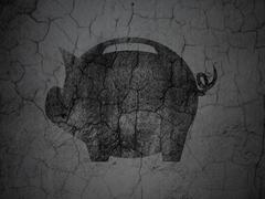 Currency concept: Money Box on grunge wall background Piirros