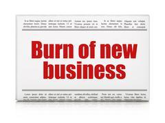 Stock Illustration of Finance concept: newspaper headline Burn Of new Business