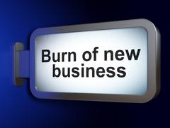 Stock Illustration of Business concept: Burn Of new Business on billboard background