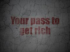 Stock Illustration of Business concept: Your Pass to Get Rich on grunge wall background