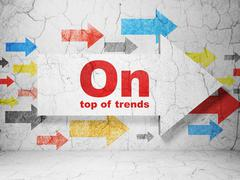 Business concept: arrow with On Top of trends on grunge wall background - stock illustration