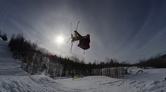 Stock Video Footage of Winter Slow Motion Extreme Sports - Silhouette Ski Jump