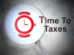 Time concept: Hand Watch and Time To Taxes with optical glass Stock Illustration