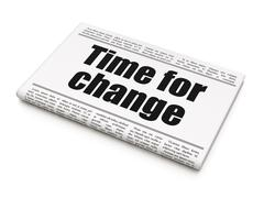 Stock Illustration of Timeline concept: newspaper headline Time For Change