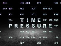Timeline concept: Time Pressure in grunge dark room - stock illustration