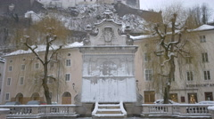 View of Chapter fountain covered in Salzburg - stock footage