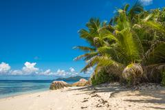 Tropical island beach, Source d'argent, La Digue, Seychelles - stock photo
