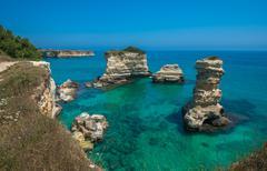 Torre Sant'Andrea, Rocky beach in Puglia, Italy - stock photo