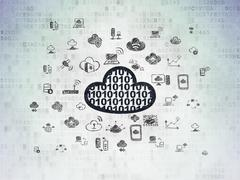 Cloud technology concept: Cloud With Code on Digital Paper background - stock illustration