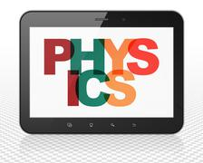 Studying concept: Tablet Pc Computer with Physics on  display - stock illustration