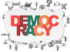 Political concept: Democracy on Torn Paper background - stock illustration