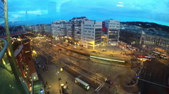 Traffic on Placa Espanya view from Arena shopping mall, Barcelona, Spain Stock Footage
