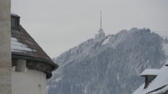 View of an antenna on a small mountain in Salzburg - stock footage