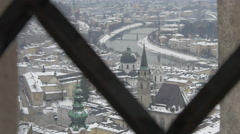Beautiful cityscape seen through a fence in Salzburg Stock Footage