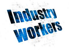 Manufacuring concept: Industry Workers on Digital background Stock Illustration
