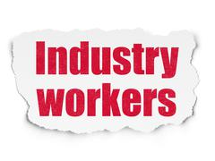 Manufacuring concept: Industry Workers on Torn Paper background Stock Illustration