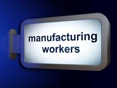 Industry concept: Manufacturing Workers on billboard background Stock Illustration