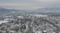 High angle view of Salzburg and amazing mountains - stock footage