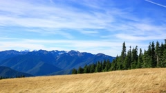 A view of the nearby mountains from the point in the park Stock Footage
