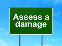 Stock Illustration of Insurance concept: Assess A Damage on road sign background