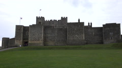 Dover Castle England on green hill historic tourism 4K Stock Footage