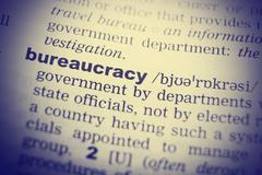 Bureaucracy Word Definition In English Dictionary Close Up Stock Photos