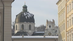 Beautiful view of the dome of Kollegienkirche in Salzburg Stock Footage