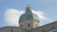 Low angle view of the dome of Salzburg Cathedral in Salzburg - stock footage