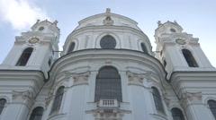 Low angle view of the facade of Kollegienkirche in Salzburg Stock Footage