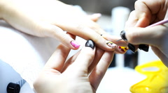Manicure process, nails, close-up Stock Footage