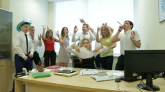 Business team celebrating a good job in the office Stock Footage