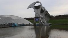 Timelapse of Falkirk wheel boat lift Falkirk Scotland Stock Footage