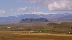 Glacier and hill on southern coast of Iceland Stock Footage