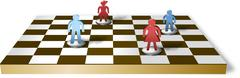 Chess table with separated family figures - stock illustration