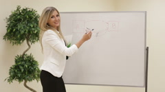 Smiling motivated female business trainer writing notes on a whiteboard Stock Footage