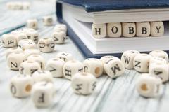 HOBBY word written on wood block. Wooden ABC Stock Photos