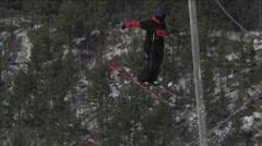 Extreme Sports - Winter Ski Hill Tricks on Big Jump - stock footage