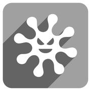 Evil Bacteria Flat Square Icon with Long Shadow - stock illustration