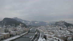 Amazing cityscape on a winter day in Salzburg Stock Footage