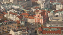 High angle view of Santa Maria Church - Ljubljana Stock Footage