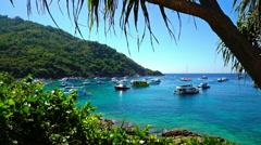 Tropical lagoon with boats Racha thailand Stock Footage
