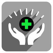 Medical Prosperity Flat Square Icon with Long Shadow - stock illustration