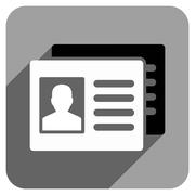 Patient Accounts Flat Square Icon with Long Shadow - stock illustration