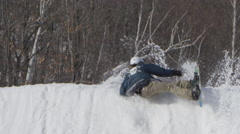 Epic snowboard crash on big jump - amazing fail in slow motion Stock Footage