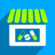 Drugstore Flat Square Icon with Long Shadow Stock Illustration