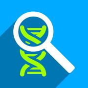 Explore DNA Flat Square Icon with Long Shadow - stock illustration