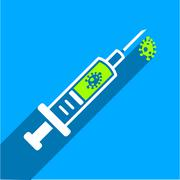 Infection Injection Flat Square Icon with Long Shadow Stock Illustration